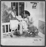 Photograph of the back porch of Victoria County Place, Baldwin County, Georgia, ca. 1950