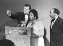 Ted Kennedy, Lillian Lewis and John Lewis, circa 1977