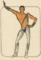 Costume design drawing, male dancer in silver tights, Las Vegas, June 5, 1980