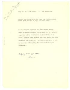 Note from Cedric Dover to W. E. B. Du Bois