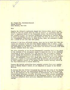 Letter from W. E. B. Du Bois, Paul Robeson, and W. A. Hunton to United Nations