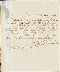 Wylly & Montmollin, Savannah, Ga., manuscript letter signed to Ziba B. Oakes, 24 May 1854