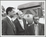 George Avakian at the Newport Jazz Festival, with Teddy Wilson and Billy Strayhorn