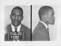 Mississippi State Sovereignty Commission photograph of Frank G. Holloway following his arrest for his participation in the Freedom Rides, Jackson, Mississippi, 1961 May 25