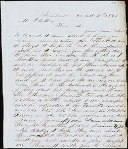 A. J. McElveen, Sumterville, S.C., autograph letter signed to Ziba B. Oakes, 4 August 1853