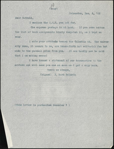 Baldwin, James Mark, 1861-1934 typed letter (copy) to J.Mc. K. Cattell, Princeton, N.J., 5 December 1903