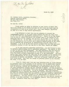 Letter from Anson Phelps Stokes to Jackson Davis