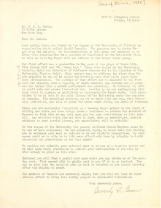 Letter from Beverly F. Greene to W. E. B. Du Bois
