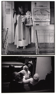 Reverend Mother Lydia Gilford/Baptism, seen in mirror, Israelit S.C., Lydia Gilford presiding
