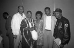 Marla Gibbs, Maxine Waters, Robert Townsend, and John Singleton at a Black Women's Forum event, Los Angeles, 1991