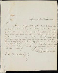 Wylly & Montmollin, Savannah, Ga., manuscript letter signed to Ziba B. Oakes, 26 September 1853