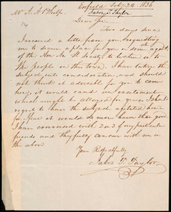 Letter from Taber T. Taylor, Enfield, to Amos Augustus Phelps, 1836 February 24