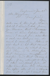 Rebecca Buffum Spring letter signed to [Thomas Wentworth Higginson], Eagleswood [Perth Amboy, N.J.], 23 January [1860]