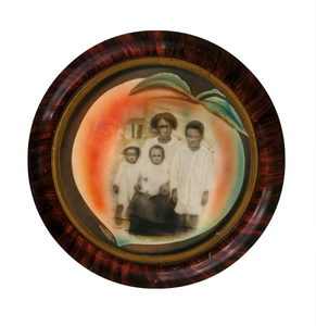 "African-American Mother and Children in ""Peach"" Vignette"
