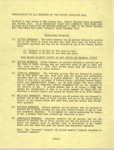 Memorandum, South Carolina Bar, 1982