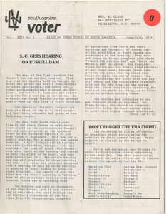South Carolina Voter, League of Women Voters of South Carolina, June-July 1976