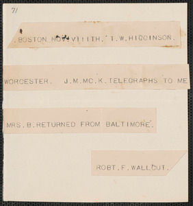 Robert Folger Wallcut telegram to Thomas Wentworth Higginson, Boston, 8 November [1859]