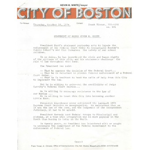 Statement of Mayor Kevin H. White.