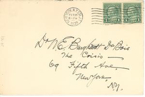 Letter from J. Rosamond Johnson to W. E. B. Du Bois