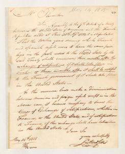 Letter from John Woodside to Stephen Pleasonton