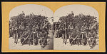 [Soldiers from the 134th Illinois Volunteer Infantry at Columbus, Kentucky holding rifles and swords]
