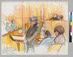 Albert Harris, Jr. reading Angela Davis' love letters; Leo Branton, Jr.; Angela Davis; Judge Richard Arnason; Partial Jury; Court Reporter
