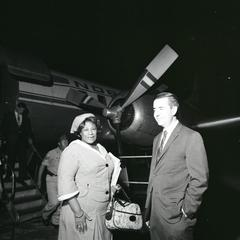 Ella Fitzgerald getting off a plane