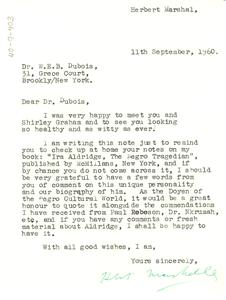 Letter from Herbert Marshall to W. E. B. Du Bois