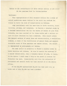 Report from W. E. B. Du Bois to American Fund for Public Service [incomplete]