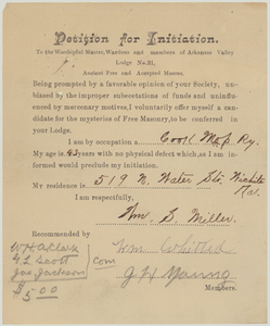 Petition for initiation for William S. Miller