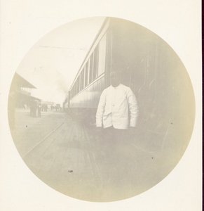 Railroad Employee on Train Platform I, ca. 1893