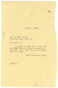 Letter from W. E. B. Du Bois to Harvey Pierce