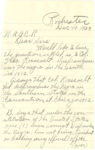 Letter from Junior Veasey to the NAACP