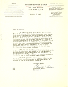 Letter from Phelps-Stokes Fund to W. E. B. Du Bois