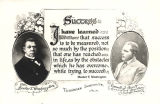 Card showing images of Booker T. Washington, founder of Tuskegee Institute in Tuskegee, Alabama, and Emmett J. Scott, executive secretary of the school.