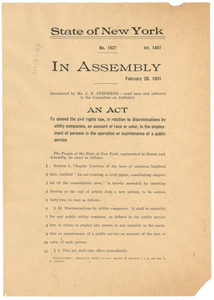 Act to amend the civil rights law, in relation to discriminations by utility companies, on account of race or color, in the employment of persons in the operation or maintenance of a public service