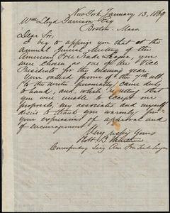 Letter from Robert Bowne Minturn, New York, [N.Y.], to William Lloyd Garrison, January 13, 1869