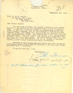 Letter from William E. Stevenson to W. E. B. Du Bois
