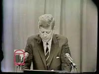 WSB-TV newsfilm clip of president John F. Kennedy in a press conference expressing his satisfaction with progress in resolving racial conflicts in Birmingham, Alabama, 1963 May 8