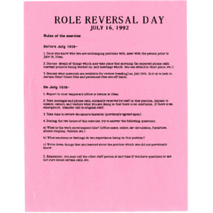 Role reversal day: July 16, 1992