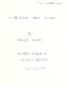 Student family histories: Adkins, Mildred (Price, Lane)