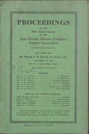 Proceedings of the 69th Annual Session of the East Florida District Primitive Baptist Association