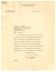 Letter from Howard University to W. E. B. Du Bois