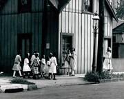 African-American girls gather after school near Sumner High School.
