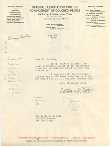 Letter from NAACP Spingarn Award Committee to W. E. B. Du Bois