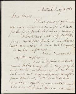 Letter from Richard Warren Weston, New York, to Deborah Weston, July 2, 1863