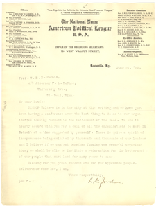 Letter from The National Negro American Political League to W. E. B. Du Bois