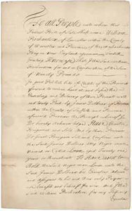 Bill of sale from William Richardson to James Dolbeare for Loran (a slave), 9 March 1732