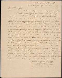 Letter from Nathaniel William Taylor, [New Haven], to Amos Augustus Phelps, Apl. 8th, 1840