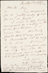 Letter from S.S. Hunting, Brookfield, [Massachusetts], to William Lloyd Garrison and Samuel May, [18]58 July 9